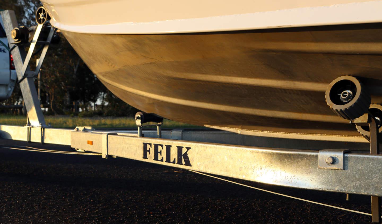 Felk branded steel used on boat trailers with multiroller wheels